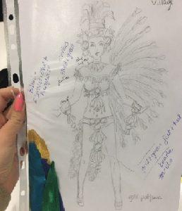 Dessin du costume Aztèque